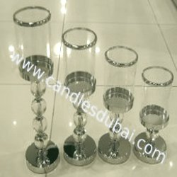 Hurricane Candle Holders Round Shape in Stainless Steel Finish without Lid