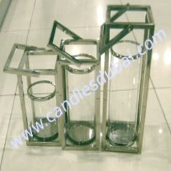 Hurricane Candle Holders Square Shape in Stainless Steel Finish without Lid