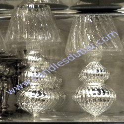 Pillar Candle Holders Glass Silver Finish