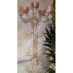Candleberra - Glass with 4 Arms - Holds 5 Candles.