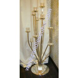 Candleberra - Silver Metal with 10 Arms- Holds 10 Candles.
