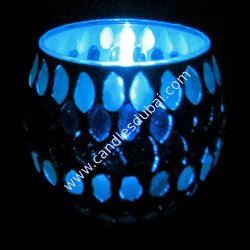 Tea Light Candles in Decorated Votive Holder